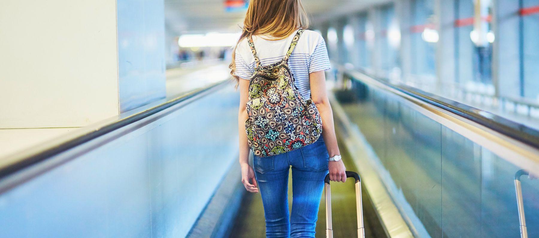 A woman on a travelator