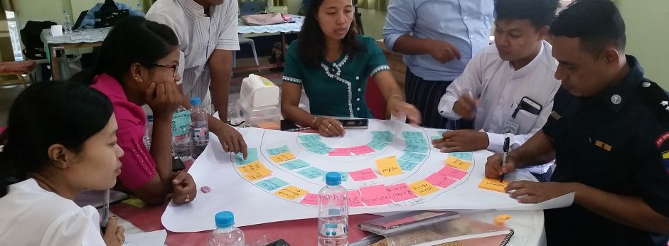 Red Cross workers in Myanmar collaborate with ThinkPlace on a disaster resilience toolkit