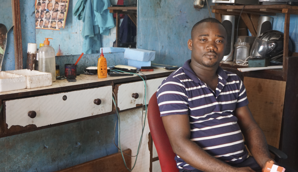A barbershop in Cote D'Ivoire